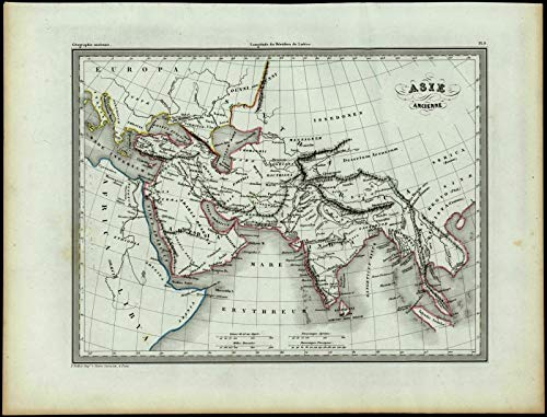 Ancient Asia Arabia India Southeast Asia Nile source c.1840 antique map ()