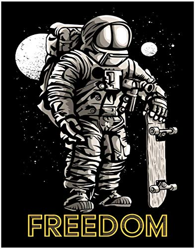 Skateboard Poster - Freedom Skateboarding Fine Art Print- 11x14 Unframed Art Print- Gift for Skateboard Fans, Future Astronauts, Astronomers, Science Lovers- Looks Great in a Dorm, Bedroom or Game Room. Decor Under $20