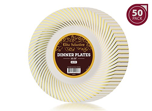 "Bulk Pack of 50 Disposable Plastic Party and Dinner Plates - Ivory Cream Color with Gold Swirl Trimmings Looks Like Real China Dishes - 10.25"" Inches – By Elite (Gold Small Rim Soup Plate)"