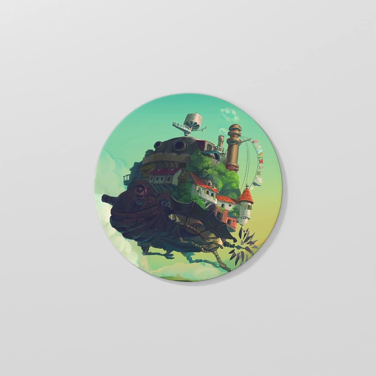 10cm Diameter Round Cork Coaster, Printed with Howl's Moving Castle Hayao Miyazaki Anime Patterns