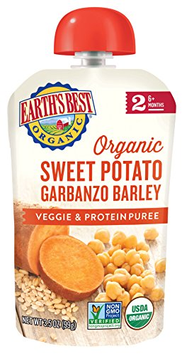 (Earth's Best Organic Stage 2 Baby Food, Sweet Potato Garbanzo and Barley, 3.5 oz. Pouch (Pack of 12) )