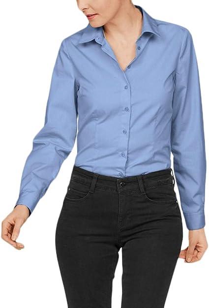 Mujer Camisas Manga Larga Elegantes Clásico Especial Oficina Negocios Ejecutiva Blusa Slim Fit De Solapa Color Sólido Botones Básica Tops Otoño Invierno Moda Polos Camisetas: Amazon.es: Ropa y accesorios