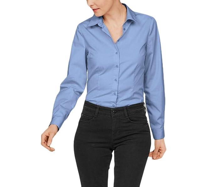 Mujer Camisas Manga Larga Elegantes Oficina Negocios Ejecutiva Blusa Sencillos Especial Slim Fit De Solapa Color