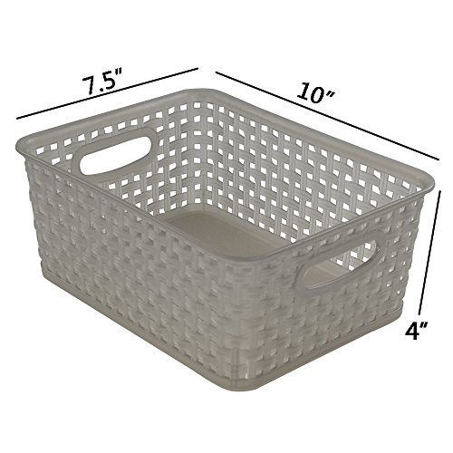 Jekiyo Grey Plastic Pantry Storage Baskets/ Bins, 4-Pack