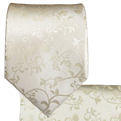 Cravate de mariage homme ivoire floral ensemble de cravate 2 Pièces ( longueur 165cm )