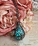 This bright aqua glowing teardrop locket pendant contains a super charged glowing pigment polymer disc. It glows both with blacklight and without. Just a few minutes under a light or some sun, and you have hours of bright aqua glowing awesome...