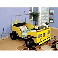 Furniture of America Trooper Twin Metal Car Bed in Yellow
