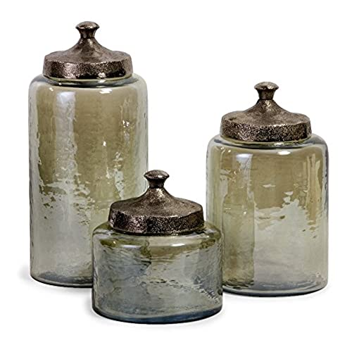 IMAX 6971 3 Round Green Luster Canisters, Set Of 3
