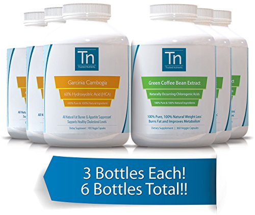 Trusted Nutrients 100% Pure Garcinia Cambogia Extract 60% HCA, 400 Veggie Caps & Pure Green Coffee Bean Extract 360 Veggie Caps 3x Bundle - 3 Bottles of Each! 6 Bottles Total!!