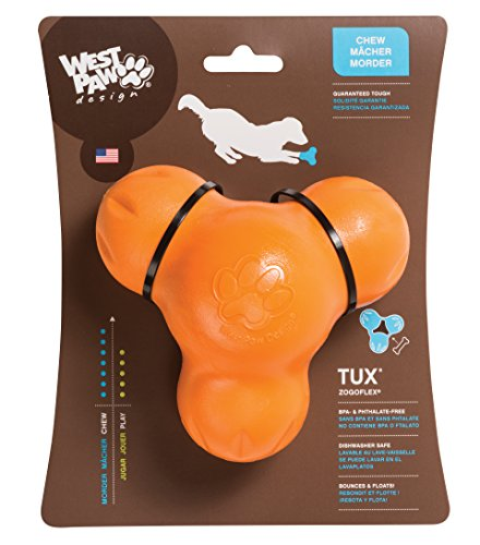 Interactive Treat Toy (West Paw Zogoflex Tux Interactive Treat Dispensing Dog Chew Toy for Aggressive Chewers, 100% Guaranteed Tough, It Floats!, Made in USA, Large, Tangerine)
