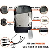 Laptop Backpack + USB Power Bank | 10000mah Portable Phone Charger Comes With USB C 3-in-1 Cable | Computer Backpack For Tablets MacBooks & Cell Phones | Bonus: RFID Pouch