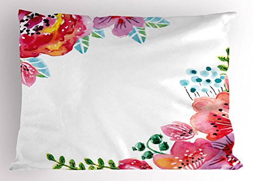 Spring Floral Pillow - Ambesonne Floral Pillow Sham by, Flourishing Spring Flowers and Leaves in Watercolors Frame Colorful Artistic Design, Decorative Standard Queen Size Printed Pillowcase, 30 X 20 Inches, Multicolor