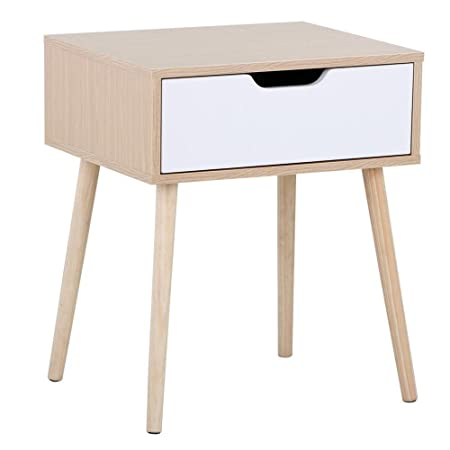 Topeakmart Light Walnut White Side End Table Nightstand Table with Storage Drawer