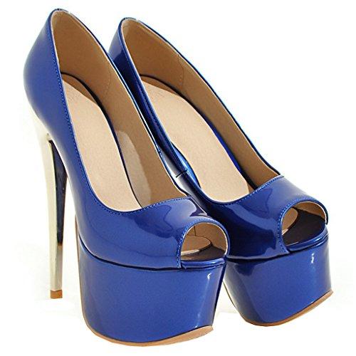 ENMAYER Frauen Blau#21 Lackleder Sexy Plattform Stiletto Super High Heels Runde und Peep Toe Pumps Slip auf Hochzeitskleid Court Schuhe 44 B(M) EU