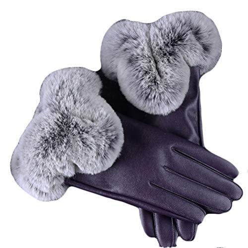 MOMTUESDAYS2 Women's Touchscreen Texting Driving Winter Warm PU Leather Gloves Autumn Winter Warm Faux Rabbit Fur Gloves Mittens (Purple)