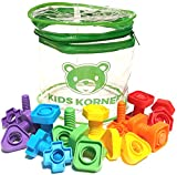 Jumbo Nuts and Bolts Set with Toy Storage and eBook | Montessori Toddler Rainbow Matching Game Activities | Fine Motor Skills Autism Educational Toys for Baby, 1, 2, 3 Year Old Boy and Girl | 24 pc