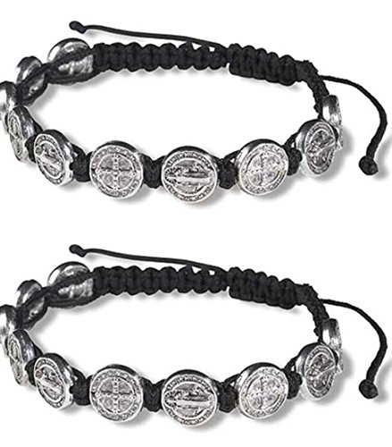 CB Silver Tone Saint Benedict Medal on Adjustable Black Cord Wrist Bracelet, 8 Inch, Pack of 2