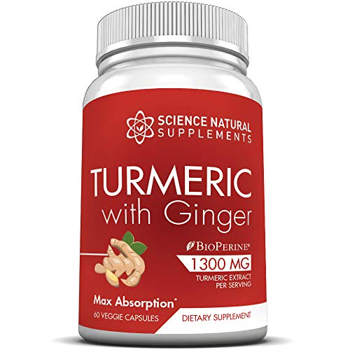 Turmeric Supplement with Ginger and BioPerine | 1300mg Capsules | 30 Day Supply | 2000% Faster Max Absorption Tumeric Formula w/ 95% Curcuminoids by Science Natural Supplements