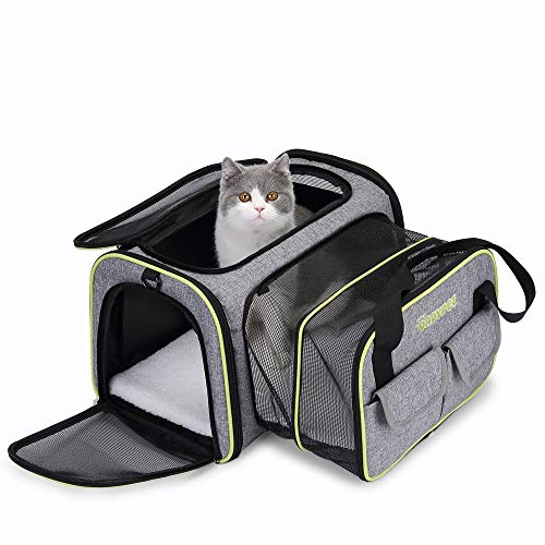 DADYPET Pet Carrier, Expandable Travel Bag for Puppy Dogs Cats, Airline Approved Soft Sided Foldable with Wool Rugs for Plane/Car/Train Travel