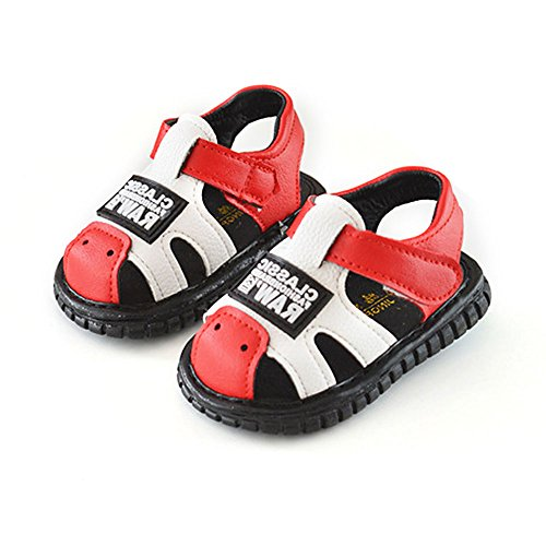 Robasiom Baby Squeaky Shoes Squeaky Sandals Anti-Slip First Walkers for Toddler Boys Girls,Red by Robasoim