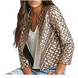 Wiipu Women Gold Sequins Jackets 3/4 sleeve Coats Outwears(J10)-Large Gold