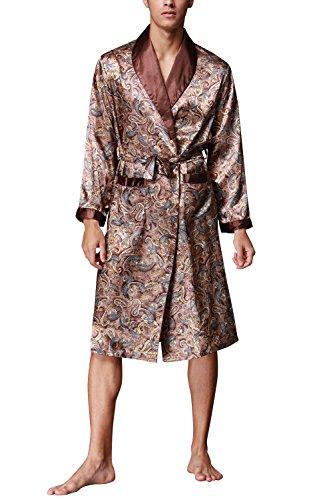 Dolamen Men's Dressing Gown Bathrobe Satin, Kimono Bath Robe Housecoat Nightwear Pyjamas (XX-Large, (Dressing Gown Men)