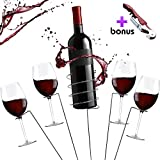 Picnic Wine Stakes Gift Set – Outdoor Drink Wine Bottle Holder and 4 Wine Glass Holder Corkscrew 6 Piece Set Best Wine Gift for Wine Lovers Gift Box For Sale
