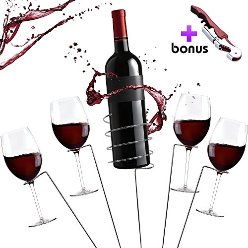 ift Set - Outdoor Drink Wine Bottle Holder and 4 Wine Glass Holder Corkscrew 6 Piece Set Best Wine Gift for Wine Lovers Gift Box ()