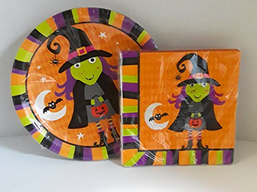 HALLOWEEN PAPPER PRODUCTS 18 COLORFUL PAPPER PLATES AND 18 MATCHING NAPKINS GREAT FOR PARTIES