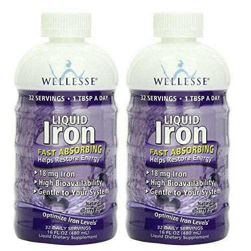 WELLESSE Liquid Mineral Supplement, Iron, Natural Berry, 16 Ounce (Pack of 2)