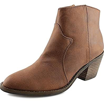 Amazon.com | Lucky Brand Marcos Women Round Toe Leather Brown Bootie