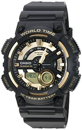 Casio Men s Sports Quartz Watch with Resin Strap, Gold, 28.6 Model AEQ110BW-9AV