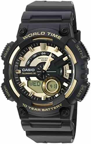 Casio Men's 'Heavy Duty' Quartz Resin Watch, Color:Black (Model: AEQ110BW-9AV)