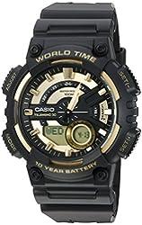 Casio Men's 'Heavy Duty' Quartz Resin Automatic Watch, Color:Black (Model: AEQ110BW-9AV)
