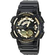 Men's 'Heavy Duty' Quartz Resin Watch, Color:Black (Model: AEQ110BW-9AV)