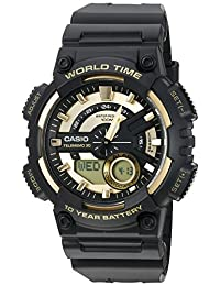 Casio resistente de resina, reloj de cuarzo para hombre, color negro (Modelo: AEQ110BW-9AV)