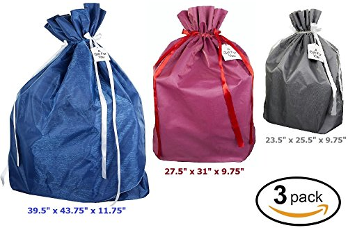 Premium Fabric Gift Wrapping Bags Organza with Satin Ribbon - Grey, Red and Blue Fabric Solid- 3 Sizes Large, Extra Large & Jumbo - Holiday Valentine's, Perfect for Large & ()