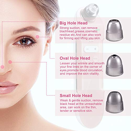 Blackhead Remover Vacuum Pore Cleaner, the latest stylish rechargeable pore cleaner, blackhead sucking facial Comedo acne extractor, with 4 replaceable vacuum tips and magnetic protection base for