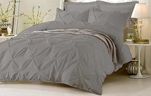 Pinch Pleated Duvet Cover With Zipper & Corner Ties 100% Egyptian Cotton 600 Thread Count Luxurious & Hypoallergenic Pintuck Decorative ( Twin/TwinXL, Silver ) by Kotton Culture Sage Stripes Euro Sham