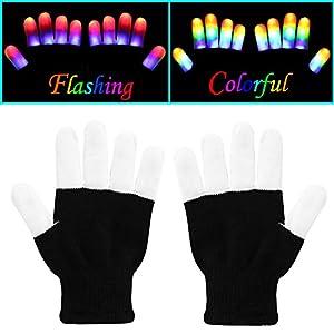 W-plus Flashing Finger Lighting Gloves LED Colorful Rave Gloves 7 Colors Light Show, Light-up Toys, Christmas Gift