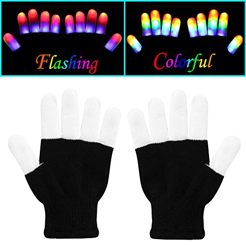 W-plus Flashing Finger Lighting Gloves LED Colorful Rave Gloves 7 Colors Light Show - Light-up Flashing Novelty Toys - Amazing Christmas Gift for Kids