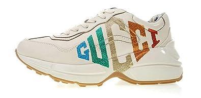 f40c9ffcb88 Fashion Sneaker Rhyton Vintage Gucci Logo Leather Trainer 524990 Drw00 9022  Gold Running Chaussures Homme Femme