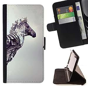 Dragon Case- Mappen-Kasten-Prima caja de la PU billetera de cuero con ranuras para tarjetas, efectivo Compartimiento desmontable y correa para la mu?eca FOR Apple Iphone 5C- Horse Cute
