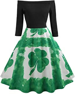 Keliay Bargain Women St Patrick's Day Long Sleeve Off Shoulder Clover Print Vintage Swing Dress