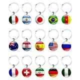 15Pcs 2018 World Cup National Country Flag Key Chain, National Flag Pendant Metal Keychain Soccer Keyrings, Football Soccer Fans Handmade Keychain Key Rings Great Football Souvenir Gift & Party Favors