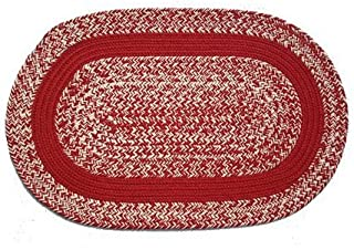 product image for Oval Braided Rug (2'x4'): Oatmeal Red,- Red Band