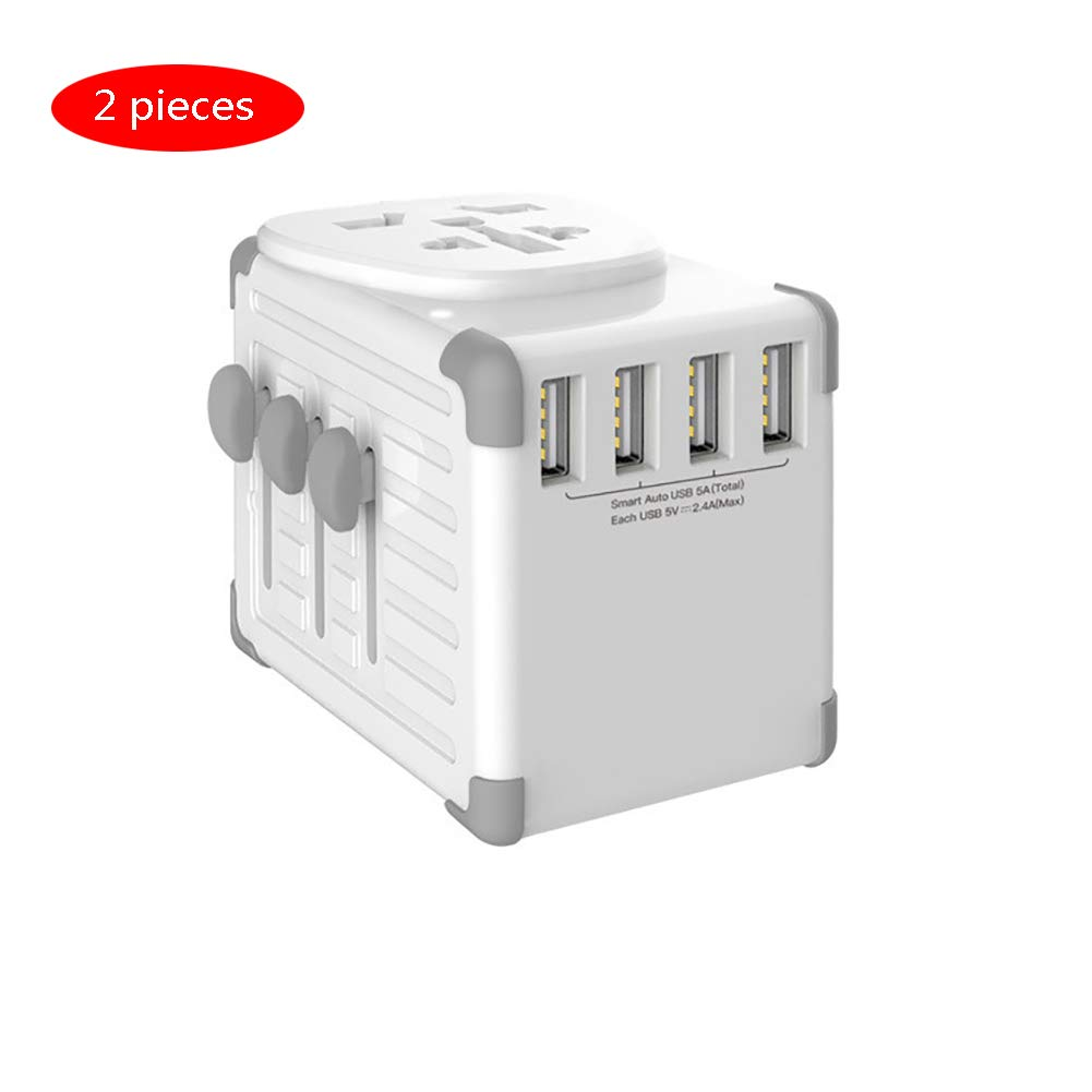 YTBLF Multi-Function Charger, Global Travel Charger Smart Socket, International Universal Plug, Four-Port USB Charging Converter (2 Pieces)