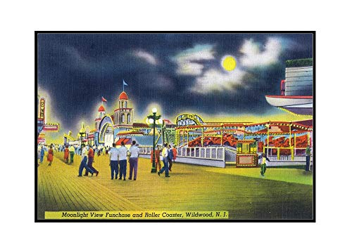 Wildwood-by-the-Sea, New Jersey - Funchase and Roller Coaster in the Moonlight (36x23 1/8 Framed Gallery Wrapped Stretched Canvas)