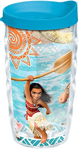 Tervis 1241644 Disney - Moana Adventures Tumbler with Wrap and Turquoise Lid 10oz Wavy, Clear