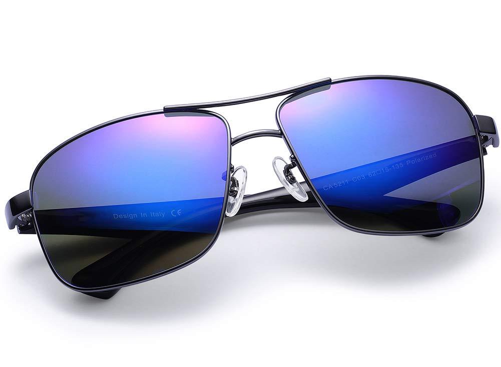 Carfia Metal Men's Sunglasses Polarized UV400 Protection (Retro/Blue Mirror, Metal Frame) by Carfia